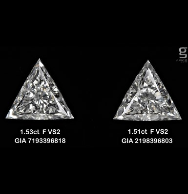 1.5CT Pair of Tri Diamonds