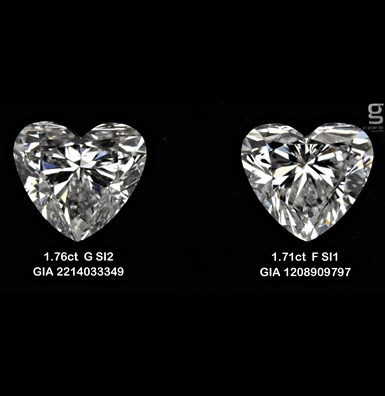 1.71 CT heart shaped diamonds