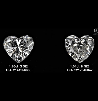 Heart Shaped Diamonds 1.1CT SI2