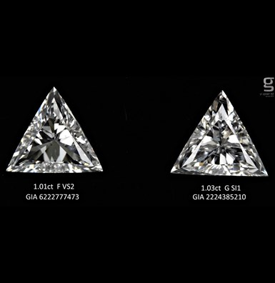 Triangle Pair Diamonds GIA Certified