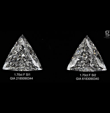 GIA 1.70ct Triangle Diamond Pair