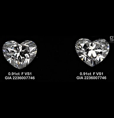 GIA Heart Diamond Pair