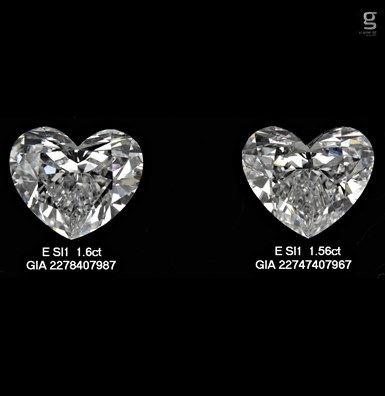 SI1 Beautiful Heart Pair of Diamonds